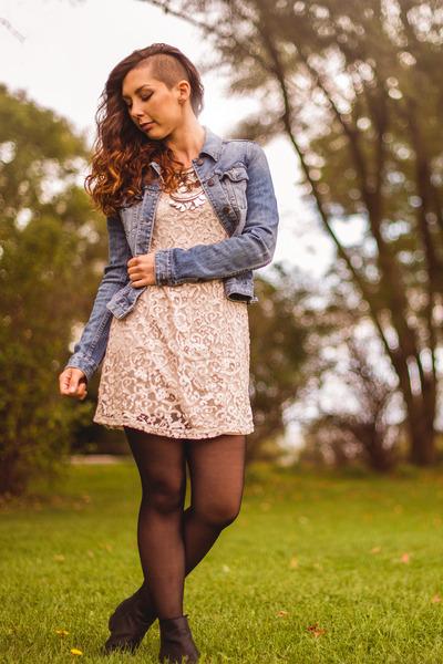 light pink lace H&M dress - sky blue denim H&M jacket