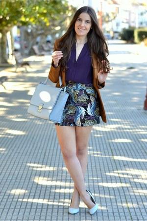 Sheinside skirt - H&M blazer - H&M shirt - Zara bag - Zara heels