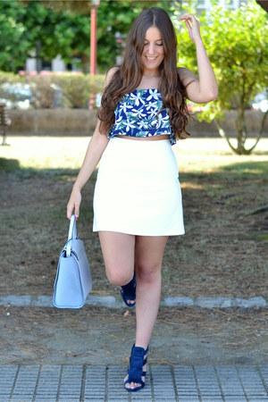 floral print Sheinside top - baby blue Zara bag - white Mango skirt