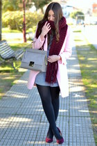 Choies coat - Sheinside dress - suiteblanco scarf - purificación garcía bag