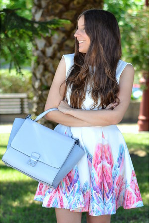 backless Sheinside dress - baby blue Zara bag - pastel pink suiteblanco heels