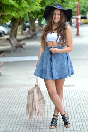 suspenders shein skirt - H&M hat - finge H&M bag - Bershka top - Zara sandals