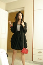 Gray-united-colors-of-benetton-t-shirt-black-vintage-skirt-black-zara-blazer