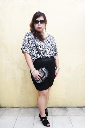black sunglasses - white sophie martin bag - black Forever 21 skirt