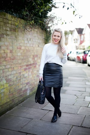 grey sweater French Connection jumper - leather H&M skirt