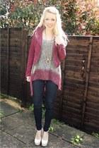 burgundy suede H&M jacket - skinny black Topshop jeans - snakeskin Boohoo heels