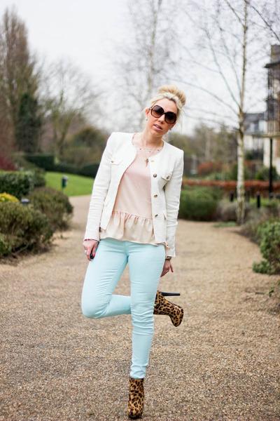 leopard print Zara boots - mint J Brand jeans - fantasy Zara jacket