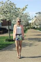pastel Zara blazer - floral print Zara shorts