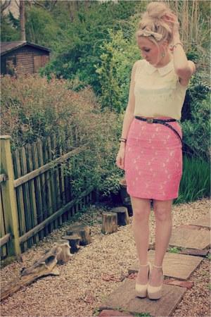 H&M skirt - lemon chiffon Sisters Wardrobe top - snakeskin Boohoo heels