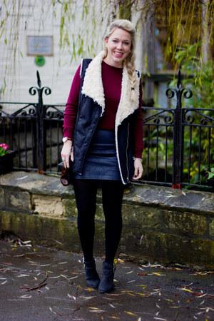 Topshop skirt - suede gilet Zara jacket