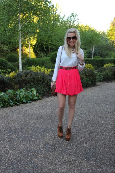 coral skirt Topshop skirt - deina boots Misguided boots