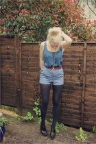 high waist-ed H&M shorts - old blue silk Zara top - platforms H&M Marni heels