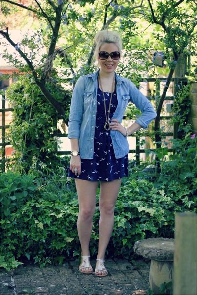 swallow print bank dress - denim Topshop shirt - cream suede H&M sandals