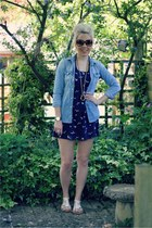 swallow print bank dress - denim Topshop shirt - cream suede H&M sandals