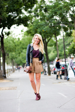 leather Topshop jacket - satchel Mulberry bag - suede look Topshop shorts