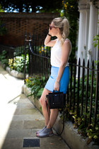 blue leather warehouse skirt - nano Celine bag