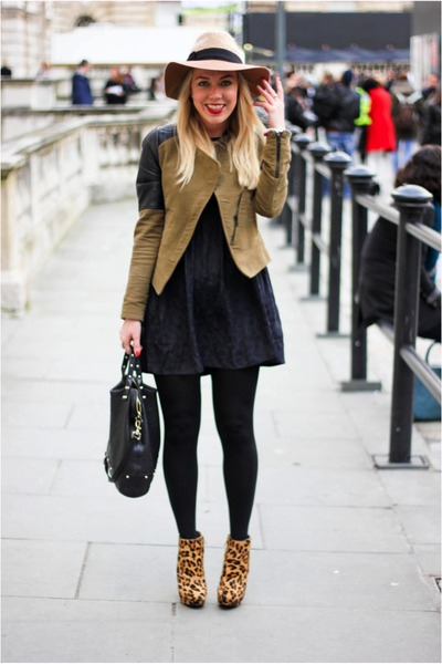 leopard Zara boots - asos dress - Zara jacket