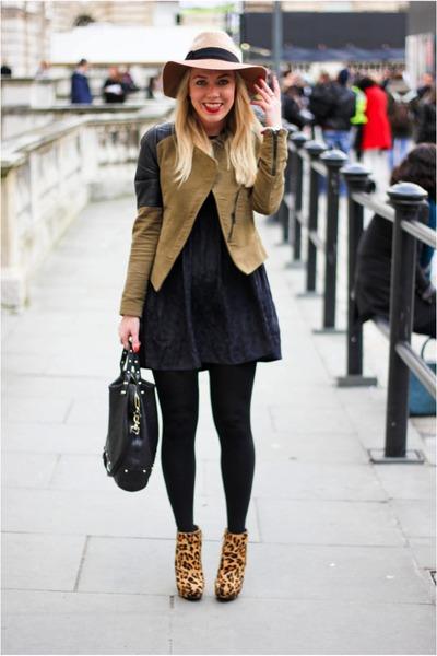 leopard Zara boots - asos dress - Zara jacket