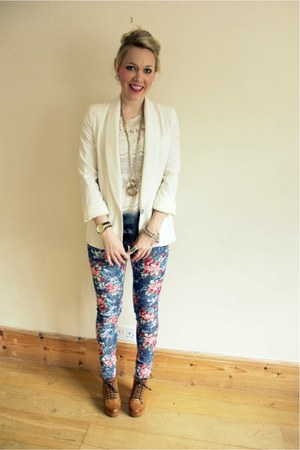 floral print FunkyDiva jeans - cream Topshop blazer - dip dye Zara top