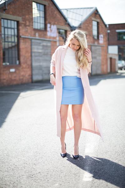 duster coat asos coat - pastel blue warehouse skirt