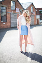 duster coat asos coat - pastel blue warehouse skirt