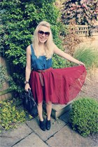 vintage Sheinside skirt - holly Mulberry bag - blue silk old Zara top
