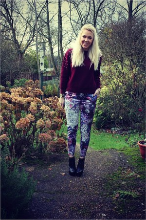 burgundy lavish alice jumper - print H&amp;M pants