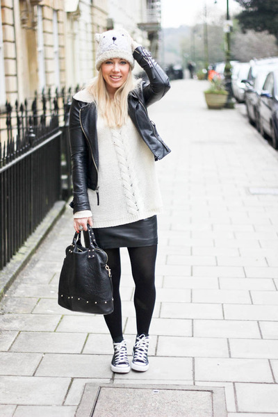 leather Topshop jacket - Converse shoes - leather H&M skirt - Monki jumper