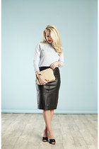 leather midi Reiss skirt