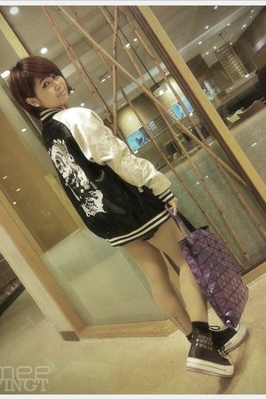 black shoes - black jacket - amethyst bag