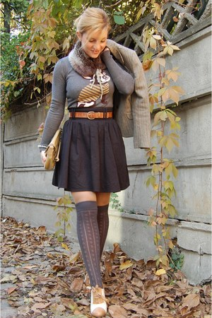 heather gray socks - black skirt - mustard shoes - brown jacket - mustard bag