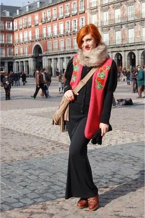 dark brown bb up boots - black vintage dress - black H&M sweater - tan H&M scarf