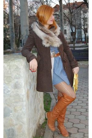 tawny Progetto boots - blue Koton dress - dark brown Cfl UK coat - tan H&M scarf
