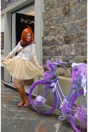 eggshell tulle DIY skirt - eggshell Stradivarius cardigan