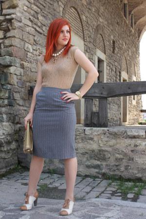 tawny Graceland shoes - camel Ziggo blouse - heather gray Esprit skirt
