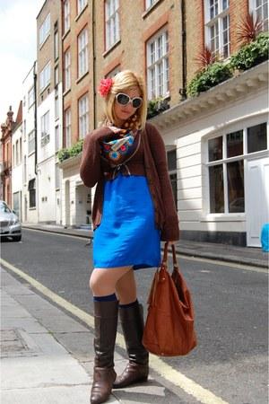 dark brown Zara boots - blue Lashez dress - Stradivarius sweater - blue vintage