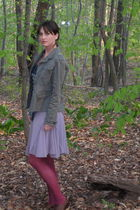 green jacket - purple skirt - blue H&M scarf - purple tights - brown Cole Haan s