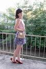 Pink-gap-blouse-blue-forever-21-skirt-beige-claires-boutique-belt-beige-pu