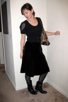 black Anthropologie sweater - black Old Navy skirt - black white mountain boots