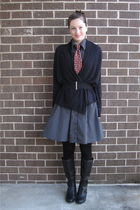 black thrifted dress - black Aerie cardigan - red thrifted tie - black Forever21