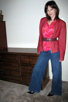 red jacket - red Express blouse - blue Target jeans - purple Forever21 belt