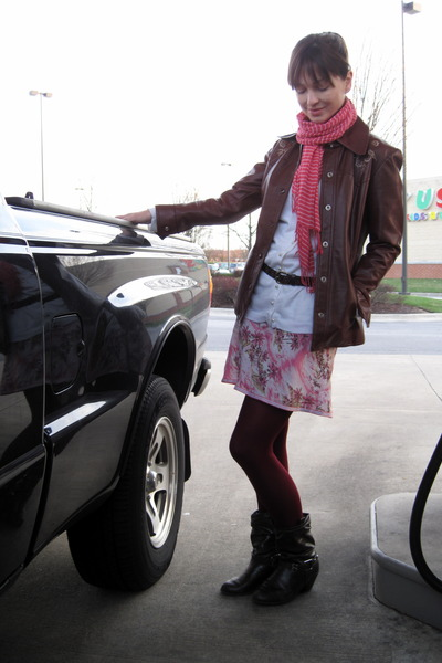white thrifted cardigan - pink Old Navy scarf - pink Old Navy skirt - red jacket