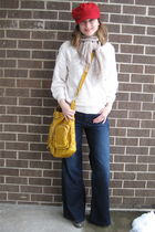 kohls hat - white thrifted sweater - beige Forever21 scarf - blue Target jeans -