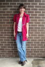 White-elle-blouse-blue-jeans-brown-shoes-pink-dress