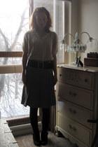 beige thrifted vintage sweater - brown thrifted skirt - black f21 belt - black G