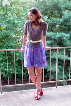purple dress - brown cardigan - red shoes - white belt