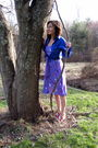 Red-keds-shoes-purple-dress-blue-foxcroft-shirt