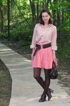 pink skirt - pink blouse - brown tights - brown belt - brown purse - brown shoes