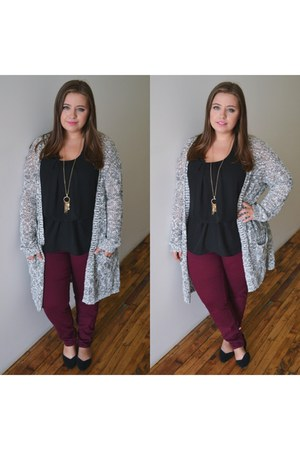 skinny jeans JCPenney jeans - long cardigan JCPenney cardigan - Old Navy flats