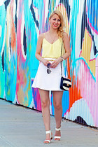 white Express skirt - black striped Aldo bag - light yellow naked zebra top